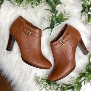 Ralph Lauren | Brown Leather Heeled Booties Sz 9